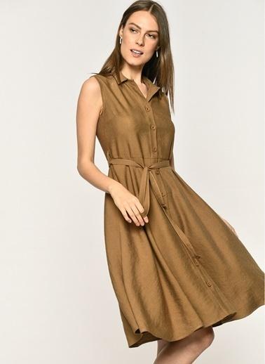 Loves You Kolsuz Keten Karışımlı Gömlek Elbise Vizon
